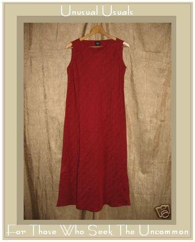 Eileen Fisher Long Red Silk Linen Bias Cut Dress X-Small XS