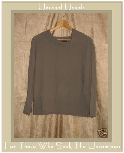 Eileen Fisher Draping Gray Silk Pullover Tunic Top Shirt Medium M