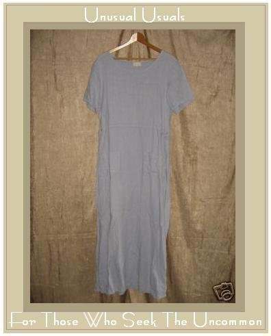 J. Jill Long Soft Blue LINEN Shapely Pullover Dress Medium Tall MT