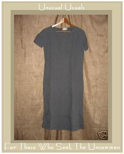 J. Jill Long Blue Gray LINEN Shapely Pullover Dress Small S