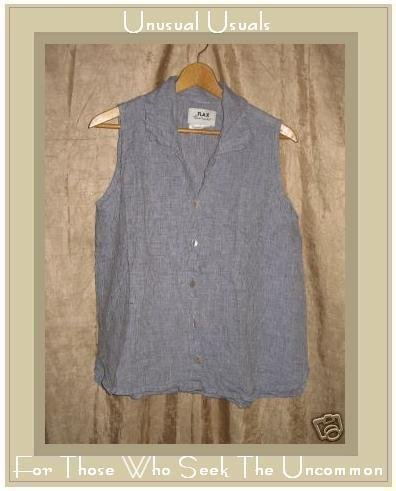 FLAX Blue LINEN Soda Pop Top Shirt Jeanne Engelhart SMALL S