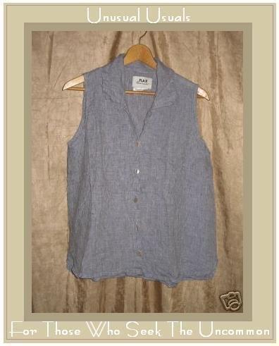 FLAX Blue LINEN Soda Pop Top Shirt Jeanne Engelhart SMALL S