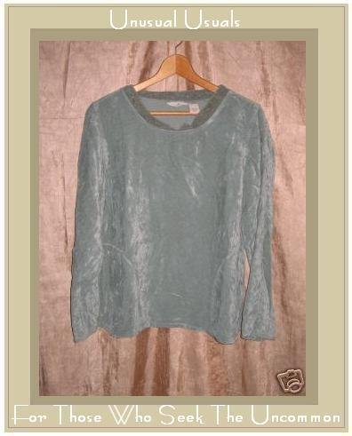 J. Jill Soft Blue Green Velour Pullover shirt top Small S