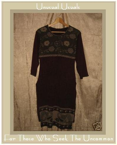 Long Shapely Floral Knit Sweater Tunic Dress Small Medium S M