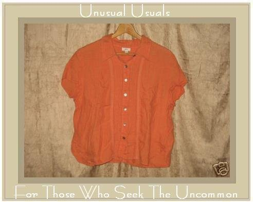 J. Jill Orange Linen Shapely Fitted Button Shirt Top XLP