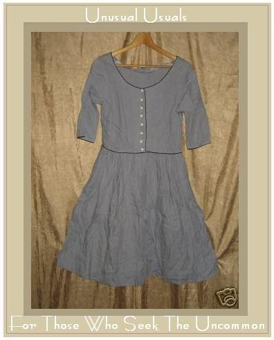 SOLITAIRE Funky Boutique Retro Blue LINEN DRESS Small S