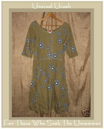 SOLITAIRE Funky Boutique Retro Floral LINEN DRESS Small S