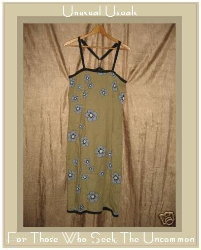 Cute SOLITAIRE Funky Blue Floral LINEN DRESS Small S