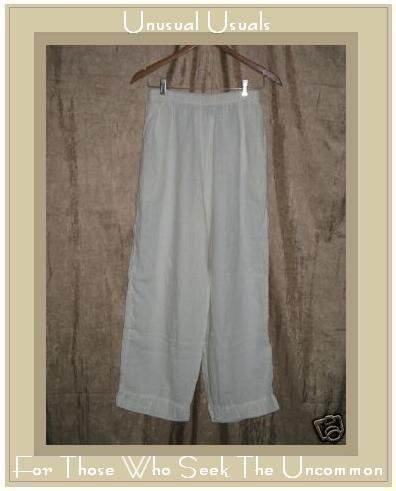 FLAX by Jeanne Engelhart White LINEN Pants Large L