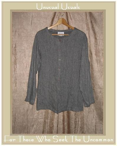 EILEEN FISHER New York Long Gray Tunic Top Jacket Medium M