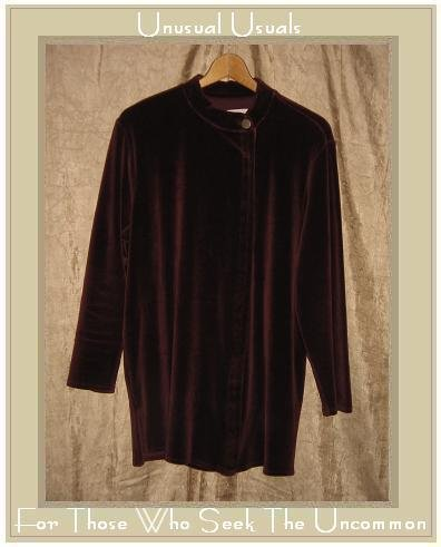 Jeanne Engelhart Flax Burgundy Cotton Velour Tunic Jacket Petite P