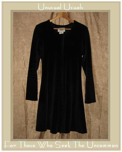 Jeanne Engelhart Flax Black Cotton Velour Tunic Dress Small S