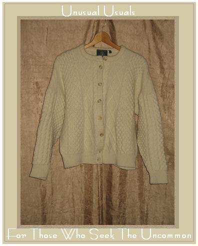 GAELTARRA Fisherman Style Cream Wool Aran Knit Cardigan Sweater X-Large XL