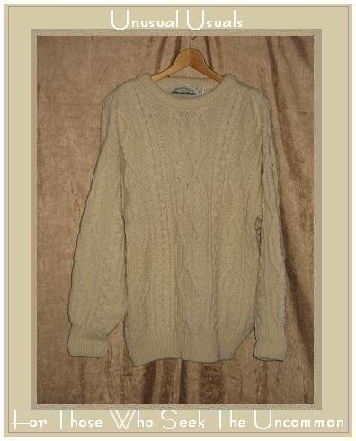 Arancrafts Cream Wool Aran Knit Fisherman's Sweater Small S