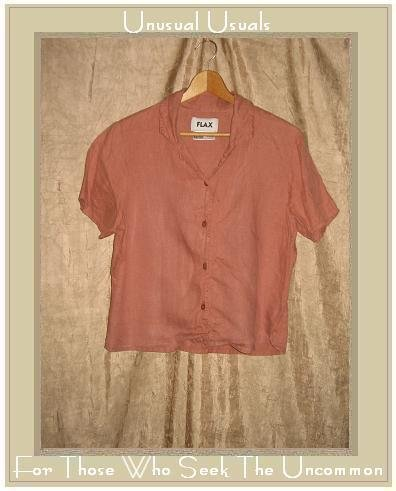 FLAX Rose LINEN Button Shirt Top Jeanne Engelhart Small S
