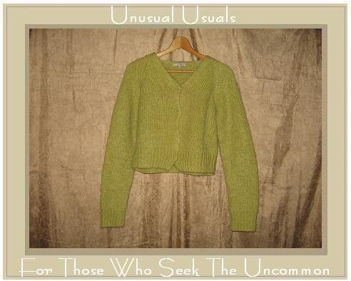 Laurie B. Soft Green Mohair Cardigan Sweater Large L