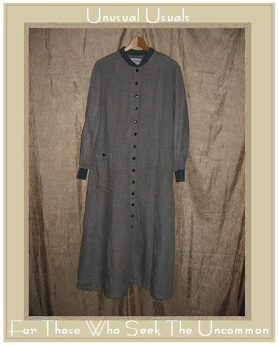 FLAX by Jeanne Engelhart Long Plaid Shapely Duster Dress Medium M
