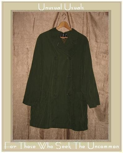 INC International Concepts Long Sueded Green Button Jacket Coat Large L