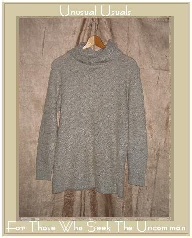 KAMAL Gray Nubby Knit Turtleneck Tunic Sweater Medium M