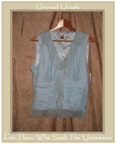 NWT WD NY Baby Blue Layered Silk Sleeveless Ruffle Shirt Top Size 8