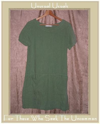 CUT LOOSE Green LINEN Skirted Pullover Tunic Dress X-Small XS