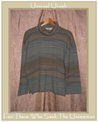 LADY DEVON Soft Striped Knit Turtleneck Tunic Top Shirt Large L