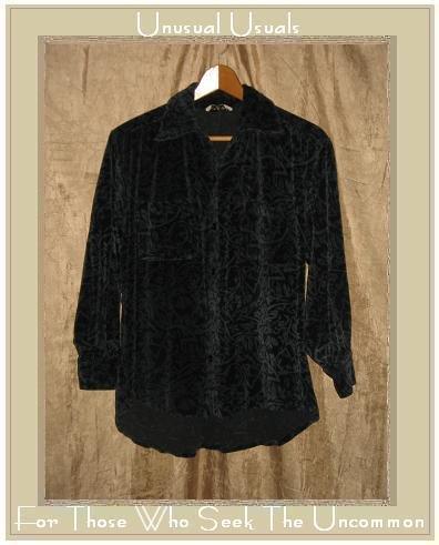 Putumayo Soft Blue Floral Velour Button Shirt Top X-Large XL