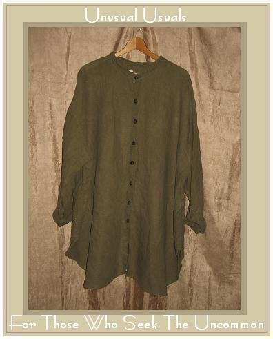 FLAX by Jeanne Engelhart Olive Linen Shirt Tunic Top Generous G