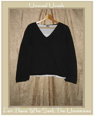 J. Jill Soft Black & White Layered Pullover Tunic Top Shirt Large L