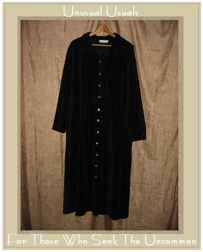 J. JILL Woman Long Soft Black Velour Button Dress 1X