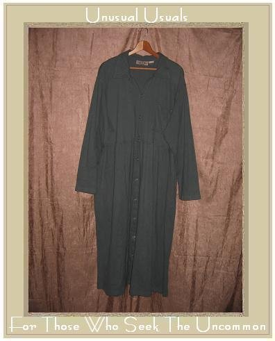 J. JILL LTD. Long Soft Blue Gray Knit Button Dress 1X