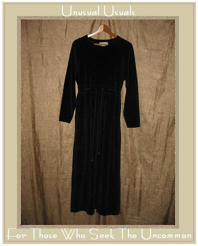 J. Jill Long Black Velour Drawstring Waist Dress Small S