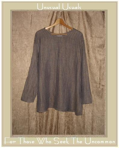 Flax by Jeanne Engelheart Earthy Plaid Tunic Top Shirt Large L