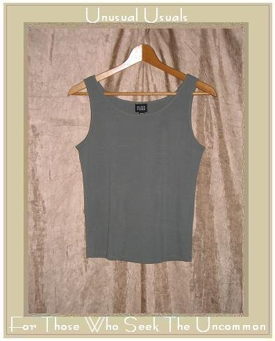 EILEEN FISHER Slinky Gray Silk Knit Pullover Tank Shirt Top Shell Small S