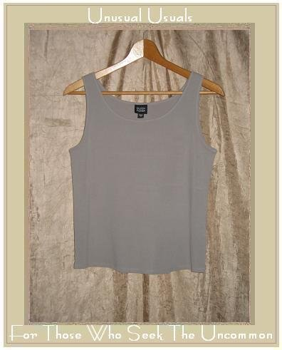 EILEEN FISHER Slinky Beige Silk Knit Pullover Tank Shirt Top Shell Small S