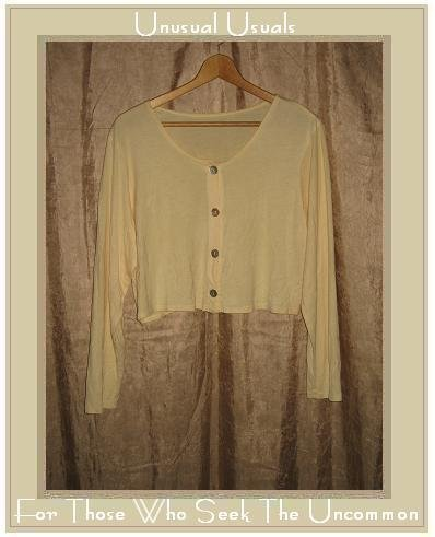 FLAX Soft Yellow Rayon Knit Cropped Button Top Shirt Jeanne Engelhart Petite P