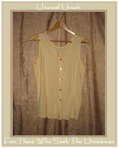 FLAX Soft Yellow Rayon Knit Button Tank Top Shirt Jeanne Engelhart Small S
