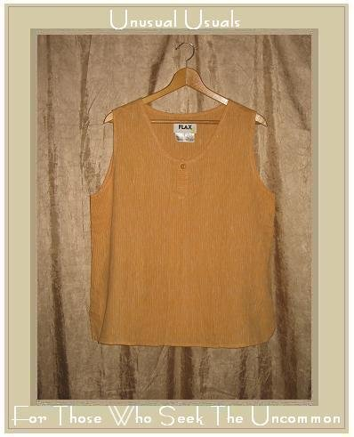 FLAX Striped Linen Shirt Tank Top Jeanne Engelhart Large L