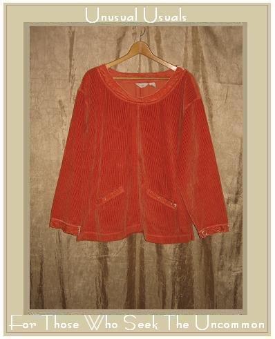 J. Jill Soft Orange Velvet Trim Corduroy Pullover shirt top X-Large XL