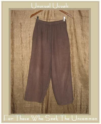 FLAX by  Angelheart Jeanne Engelhart Mushroom Brown LINEN FLOODS Pants Small S