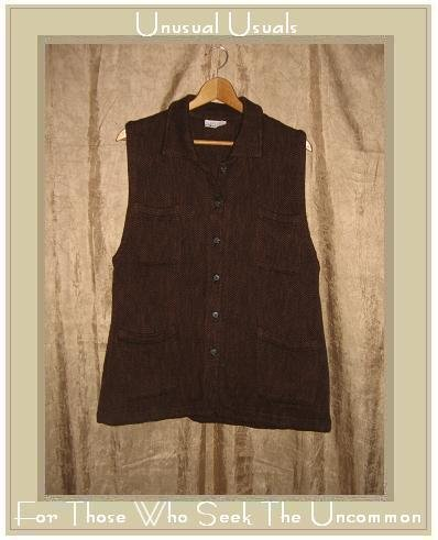 CUT LOOSE Rich Brown Tweed Tunic Top Vest Medium M