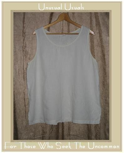 EILEEN FISHER Woman White Linen Pullover Tank Shirt Top Shell 1X