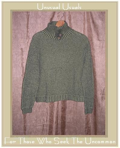 Willow Mint Green Buttoned Turtleneck Tunic Sweater Large L