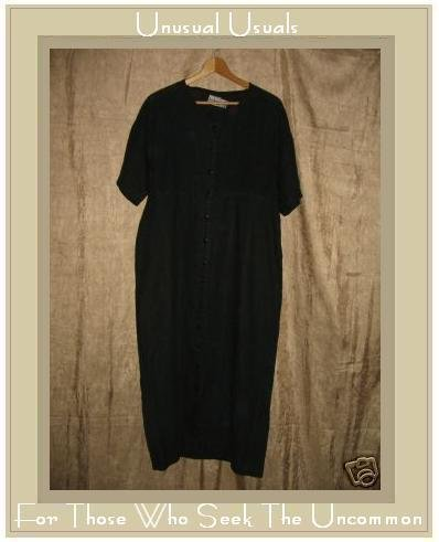 KIKO Comfortable Clothing Long Black LINEN Pin Tuck Dress Medium M