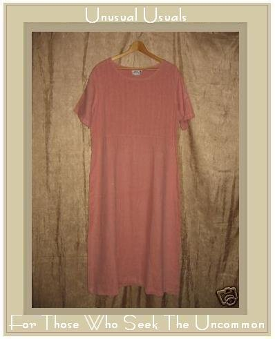 EXIT WHERE Long Pink LINEN Pin Tuck Dress Large L