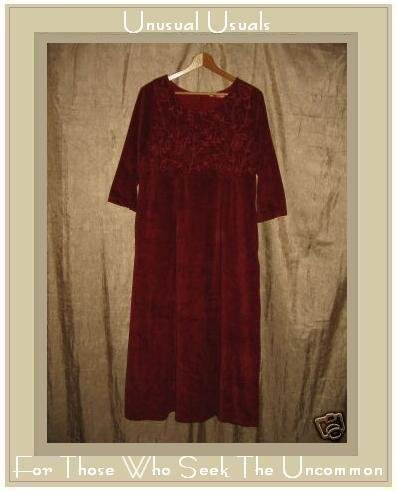 April Cornell Soft Red Embroidered Corduroy Dress Small S