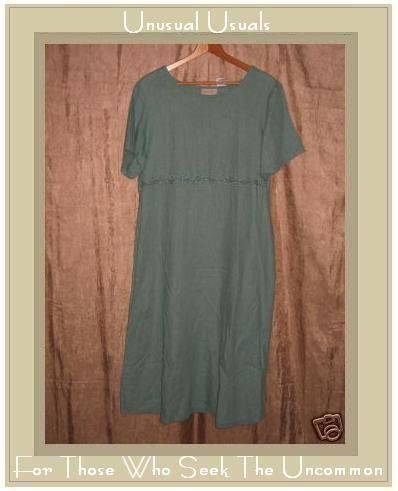SUSAN BRISTOL Long Teal LINEN Pullover Dress Medium M