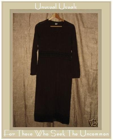 PERUVIAN CONNECTION Brown Pima Cotton Knit Pullover Tunic Dress Small S