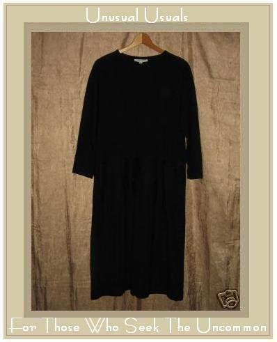 Carol Horn Long Black Wool Pullover Tunic Dress X-Small XS