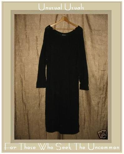 COLOR ME COTTON CMC Nubby Black Knit Pullover Tunic Dress Large L